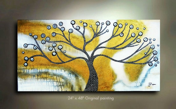 ORIGINAL Tree of Life Painting Flower Abstract Art Landscape Artwork Great Color 48x24 Modern Contemporary Textured Art Made to Order by OT