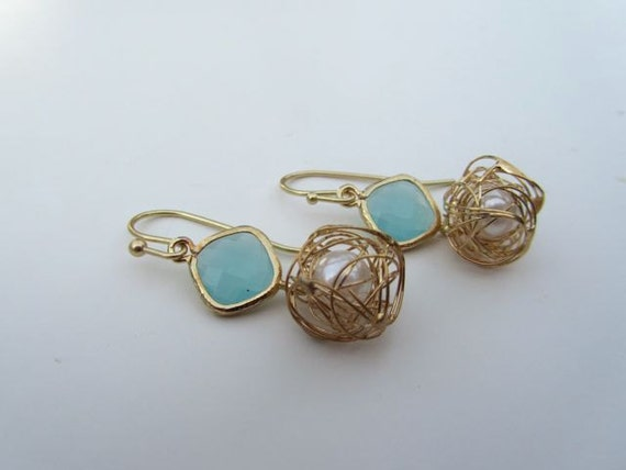 Blue Ice Earrings- Freshwater pearls wrapped in gold wire and blue/ice gold faceted connector
