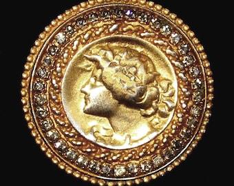Vintage Gold CAMEO GENO Brooch Pin Grey Rhinestones Strass Pendant