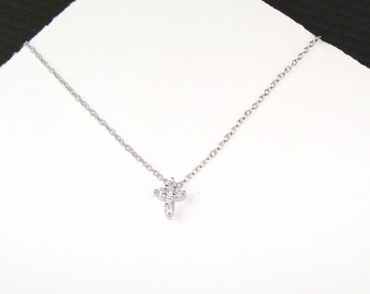 Reserved - Tiny Sterling Silver Cz Cross Necklace - Pre-Sale, Bridesmaid Gifts, Faith, Love, Friendship, Wedding Party, Tiny Pave Cross