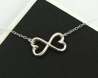 Sterling Silver Double Heart Infinity  Necklace - Infinity, Heart, Girlfriends, BFF's, Family, Mother and Children, Sisters, Forever,Gift