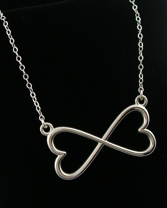 Sterling Silver Large Double Heart Infinity Necklace - Infinity, Heart, Girlfriends, BFF's, Family, Mother and Children, Sisters, Forever, G