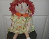 Annie's Flowers  Primitive Annie Doll