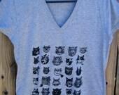 CATS V Neck Grey Women's Tee