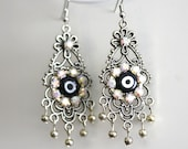 Statement Evil Eye Silver Chandelier Earrings Impressive and unique