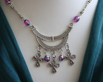 SALE Statement Silver Crosses necklace  ethnic inspired