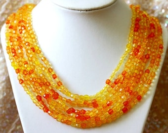 LIQUIDATION Multistrand Waterfall Cascade Statement Necklace in tangerine, gold and yellow colors