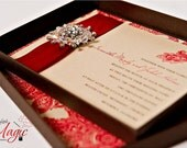 Red Carpet Worthy - Boxed Wedding INVITATION SAMPLE with Brooch