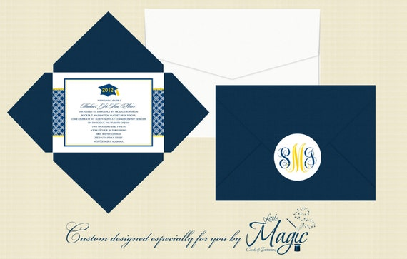 Pochette Graduation Announcements  - College, Universities, Class of 2017, Invitations, Military, High School, Monogram, Blue