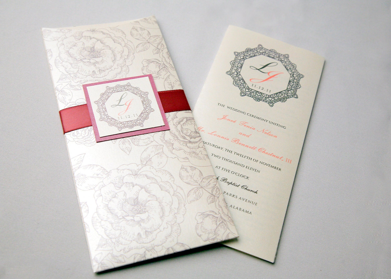 Pocket Sleeve Wedding Program Tri Fold