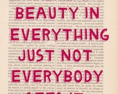 dictionary art vintage There is Beauty in Everything print - vintage art book page print - inspirational quote dictionary art