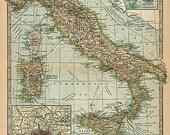 "vintage map of ITALY atlas vintage map italian print - large map print 20"" x 28"" - vintage map print of italy"