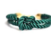 Square Knot Bracelet - Emerald Green