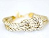 Square Knot Bracelet - Metallic Gold