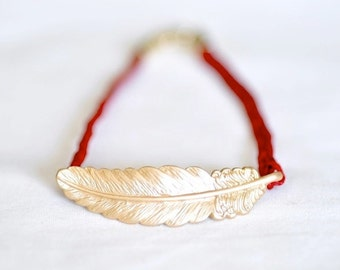 Feather Braided Bracelet - Red