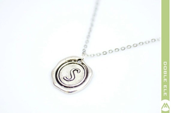 Wax Seal Initial Necklace - S -
