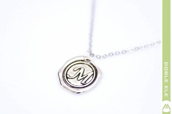Wax Seal Initial Necklace - M -