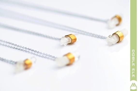 Vintage Brass Quartz Necklace x 1