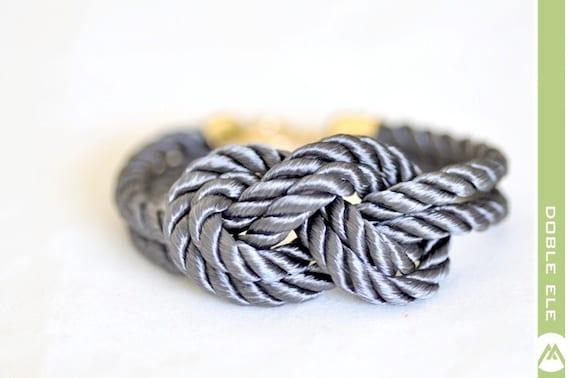 Double 8 Infinity Knot Silk Rope Bracelet - Gray