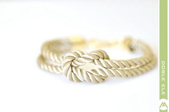 Square Knot Silk Rope Bracelet - Champagne