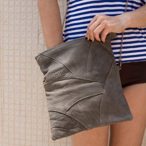 women Gray leather Clutch featured a removable chain, gift for her, christmas gift, leather purse, gray women wallet