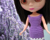 Blythe dress lavender lilac crocheted with white accents