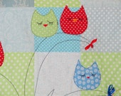 Owls applique quilt baby boy quilt