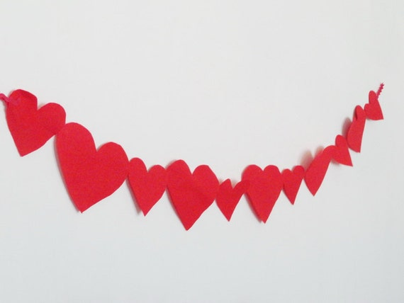 Wedding decoration valentines day red felt heart garland christmas decoration