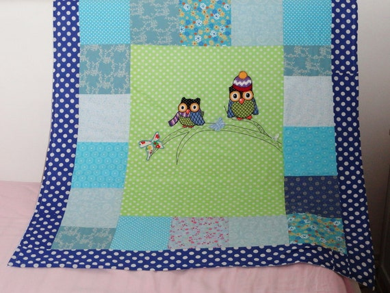 baby boy owl  applique quilt blanket, green and blue