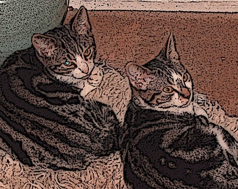 Cat Print Double Trouble Two Kittens Contemplating Mischief
