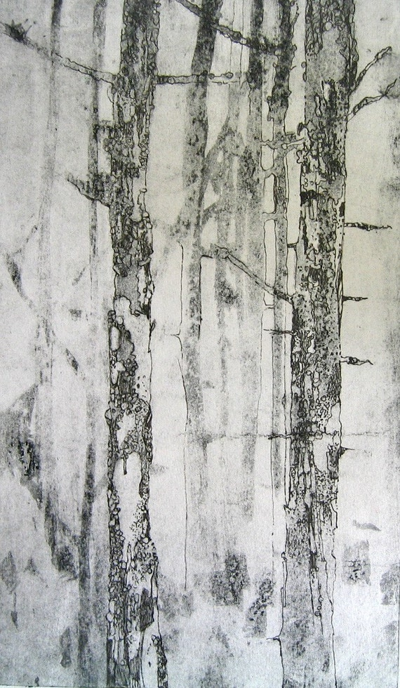 Trees Print A Misty Morning in The Woods Original Art