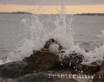 "Seascape Abstract Beach Photography, Ocean Waves, Stone Arch Photograph Print, 8.5"" x 11"""