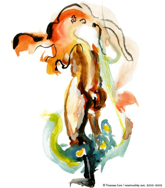"Figurative Art, Abstract Figure Painting, Surreal Art, Fashion Illustration, 6"" x 6"" - 07"
