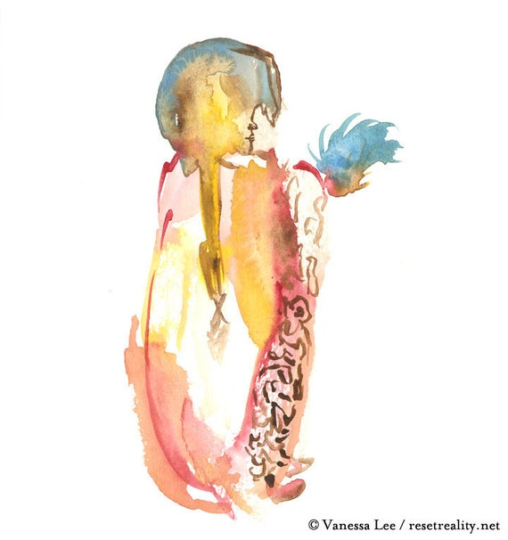 "Original Watercolor, Figure Painting, Abstract Art, Fashion Illustration, 6"" x 6"" - 167"