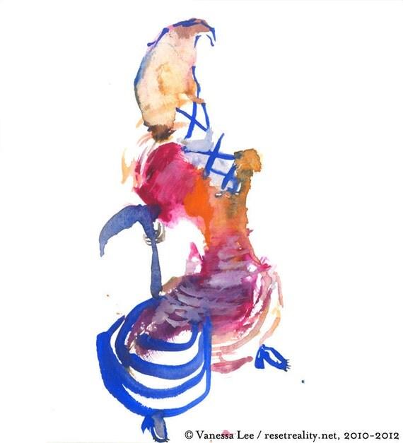 "Original Watercolor, Figure Painting, Surreal Art, Fashion Illustration, 6"" x 6"" - 258"