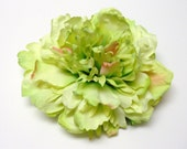 Silk Flowers -  TWO Large Gorgeous Apple Green Peonies - 5 Inches - Artificial Flowers