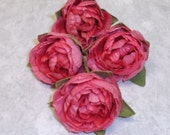 Silk Flowers - Four Artificial Ruffle Ranunculus Buds in Pink - Lots of Layers - 2 Inches - Artificial Flowers