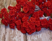 One Lot of 144 Tiny Little Red Ribbon Roses - Christmas Crafts Card Making