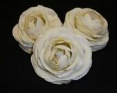 Silk Flowers - THREE Cream Silk Ranunculus Flowers - 3.5 Inches - Artificial Flowers