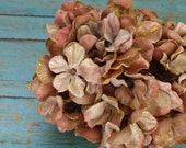 Silk Flowers - One Hydrangea Head in Mauve and Khaki Taupe With Glitter - Artificial Flowers