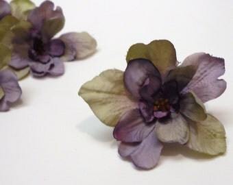 Silk Flowers - TEN Delphinium Blossoms in Purple with Khaki Taupe - SMALLER SIZE - Artificial Flowers