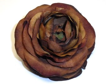 Silk Flowers - One Silk Ranunculus in Rich Brown - 3.5 Inches - Artificial Flowers