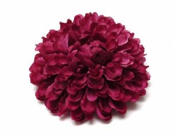 Silk Flowers - One Fuchsia Pom Pom Mum - 3.25 Inches - Artificial Flower
