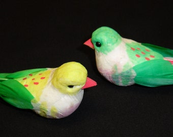 One Set of Two Decorative Artificial Birds - Craft Embellishment
