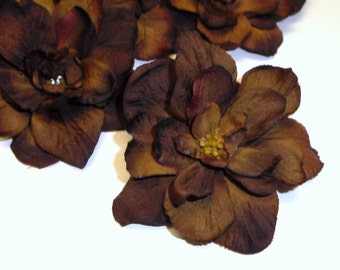 Silk Flowers - 10 Delphinium Blossoms in Deep Brown Colors - 3 Inches - Artificial Flowers