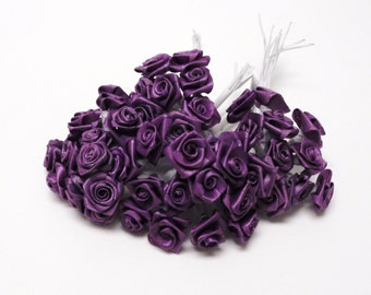Artificial Flowers  - One Lot of 144 Tiny Little Purple Ribbon Roses - VERY SMALL FLOWERS