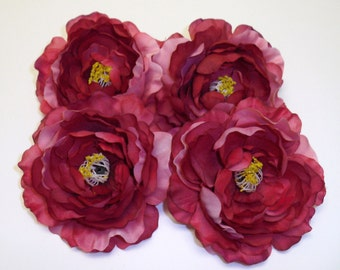 Silk Flowers - 4 Silk Ruffle Ranunculus Flowers in Fuchsia with Pink - 4 Inches - Artificial Flowers