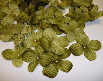 Silk Flowers - 80 Hydrangea Blossoms in Avocado Green - Artificial Hydrangea