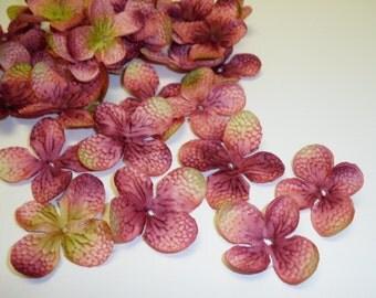 40 Mauve Artificial Hydrangea Blossoms - Artificial Flower Petals, Silk Flowers, DIY Wedding, Flower Crown, Hair Accessories, Scrapbooking
