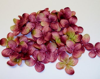 80 Mauve Hydrangea Blossoms - Artificial Flowers, Silk Flowers, Scrapbooking, Wedding Flowers, Hair Accessories, Millinery, Flower Crown